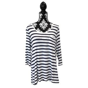 CAbi #435 Nautical Stripes White & Navy Tee XL